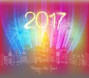 Saludo de neón de la Feliz Año Nuevo Fuegos artificiales en la noche de la ciudad Fotos de archivo