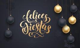 Saludo de oro del ornamento de la bola de la decoración de las fiestas de Felices del español buenas fiestas libre illustration