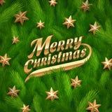 Saludo de oro y estrellas de la Navidad Imagen de archivo libre de regalías