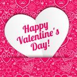 Saludo de papel de encaje del corazón del día de tarjeta del día de San Valentín del vector Foto de archivo libre de regalías