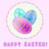 Saludo de Pascua con turquesa; azul; huevos pintados púrpura ilustración del vector
