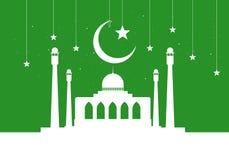 Saludo de Ramadan Kareem con la mezquita en fondo del verde de la noche libre illustration