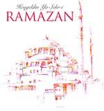 Saludo de Ramadan Kareem del vector con la mezquita