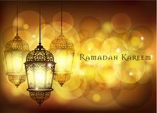 Saludo de Ramadan Kareem en fondo borroso con el ejemplo árabe iluminado hermoso del vector de la lámpara stock de ilustración