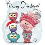 Saludo del cerdo lindo de la tarjeta de Navidad y de tres búhos ilustración del vector