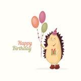 Saludo del cumpleaños del erizo Fotografía de archivo