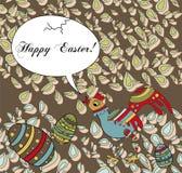 Saludo del día de fiesta de Pascua con un pollo tonto Fotos de archivo libres de regalías
