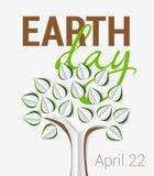 Saludo del Día de la Tierra con el árbol hecho del papel con la sombra stock de ilustración
