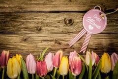 Saludo del día de madres con una frontera del tulipán Imagen de archivo