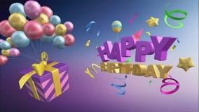 Saludo del feliz cumpleaños con los globos y los regalos en el formato 3d libre illustration