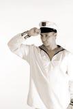 Saludo del hombre del marinero imágenes de archivo libres de regalías
