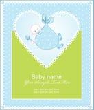Saludo del nacimiento de un muchacho con un corazón stock de ilustración