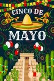 Saludo del vector del sombrero de Cinco de Mayo Mexican stock de ilustración