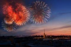 Saludo en St Petersburg, el día de la victoria 9 pueden Imagen de archivo