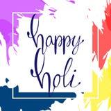 Saludo feliz de Holi imagen de archivo