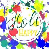 Saludo feliz de Holi stock de ilustración