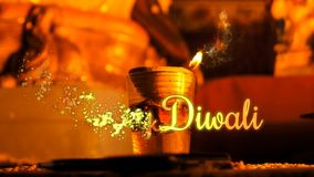 Saludo feliz del dipawali, animación de la llama de Diya del aceite, gráficos del movimiento, publicidad, diseño de concepto para ilustración del vector
