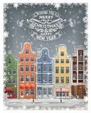 Saludo Gard con la ciudad del europeo del invierno ilustración del vector