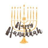 Saludo judío de Jánuca del día de fiesta Símbolos tradicionales aislados en blanco - velas del menorah, glowin de Hanukkah de Dav