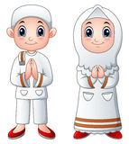 Saludo musulmán de la historieta del niño stock de ilustración