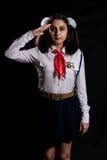Saludo pionero de la muchacha Fotografía de archivo