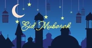 Saludo reluciente de Eid Mubarak con las mezquitas y las linternas con la luna y las estrellas almacen de video