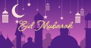 Saludo reluciente de Eid Mubarak con las mezquitas y las linternas con la luna y las estrellas almacen de metraje de vídeo