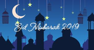Saludo reluciente de Eid Mubarak para 2019 con las mezquitas y las linternas con la luna y las estrellas almacen de video