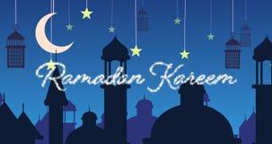 Saludo reluciente de Ramadan Kareem con las mezquitas y las linternas con la luna y las estrellas metrajes