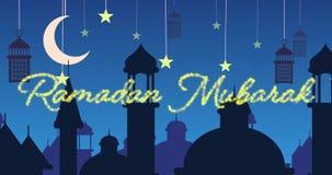 Saludo reluciente de Ramadan Mubarak con las mezquitas y las linternas con la luna y las estrellas almacen de video