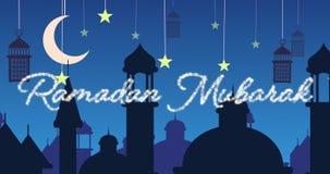 Saludo reluciente de Ramadan Mubarak con las mezquitas y las linternas con la luna y las estrellas metrajes