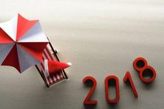 saludo tropical del Año Nuevo de la playa 2018 Imagen de archivo