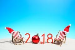 saludo tropical del Año Nuevo del verano 2018 Imagen de archivo libre de regalías
