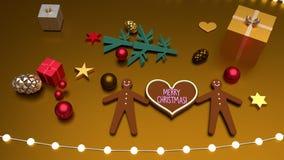 Saludo y hombres de pan de jengibre de la Feliz Navidad de la forma del corazón ilustración del vector