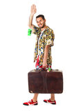 Saludos Amigos. A young, attractive male in a colorful outfit ready to travel as a stereotype tourist Stock Photography