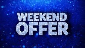 Saludos azules de las partículas de los deseos del texto de la oferta del fin de semana, invitación, fondo de la celebración libre illustration