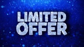 Saludos azules de las partículas de los deseos del texto de la oferta limitada, invitación, fondo de la celebración stock de ilustración