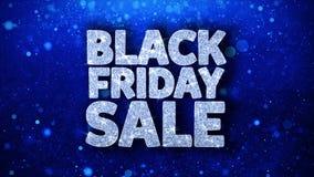 Saludos azules de las partículas de los deseos del texto de la venta de Black Friday, invitación, fondo de la celebración stock de ilustración