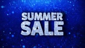 Saludos azules de las partículas de los deseos del texto de la venta del verano, invitación, fondo de la celebración ilustración del vector