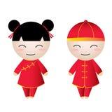 Saludos chinos del Muchacha-Muchacho Fotografía de archivo