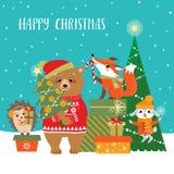 Saludos de la Navidad del arbolado Fotografía de archivo