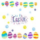 Saludos de la postal del regalo de los huevos de Pascua con pascua ilustración del vector
