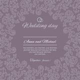 Saludos de la postal Invitación de la boda Foto de archivo