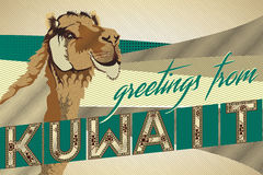 Saludos de la tarjeta del camello de KUWAIT Foto de archivo