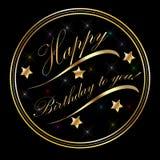 Saludos de la tarjeta del oro del feliz cumpleaños Fotos de archivo