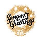Saludos de las estaciones, diseño del vector de la frase manuscrita en guirnalda exhausta de la Navidad Ejemplo del Año Nuevo par libre illustration