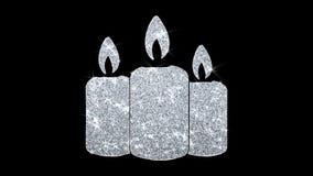 Saludos de las partículas del icono del centelleo del elemento de la vela del ornamento de la Navidad, invitación, fondo stock de ilustración
