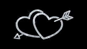 Saludos de las part?culas del icono del elemento del centelleo del coraz?n, invitaci?n, fondo de la celebraci?n ilustración del vector