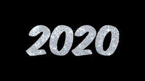 2020 saludos de las part?culas de los deseos del texto del centelleo de la Feliz A?o Nuevo, invitaci?n, fondo de la celebraci?n stock de ilustración