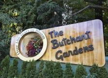 Saludos de los jardines de Butchart foto de archivo